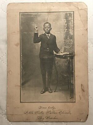 """Antique African American Photo Of Lil Walter Wallace Edwards """"The Boy Preacher"""""""