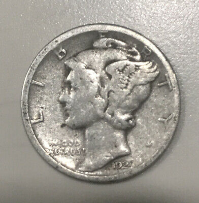 """Compare this 1924 S Mercury Dime, 90% SILVER, Good Album Filler, """"FREE SHIPPING"""""""