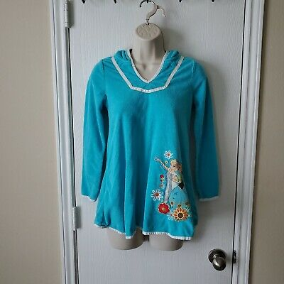 Elsa And Anna Frozen Girls Terry Bathrobe Hoodie Coverup 7/8