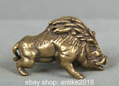 "2.2"" Old Chinese Bronze Copper Feng Shui Pig wild boar Animal Statue Sculpture"