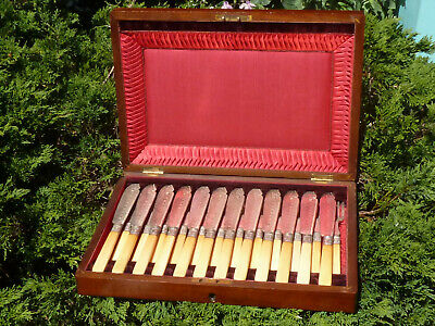 Antique 12 Setting Cutlery Silver Plate Fish Knives Forks Sheffield Wooden Case