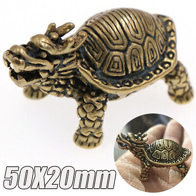 Hand Carved Brass Dragon Turtles Tortoise Statue Wealth Lucky Decoration Pendant