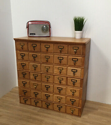 Beautiful Vintage Oak Chest Of Index Card Drawers Mid Century Industrial