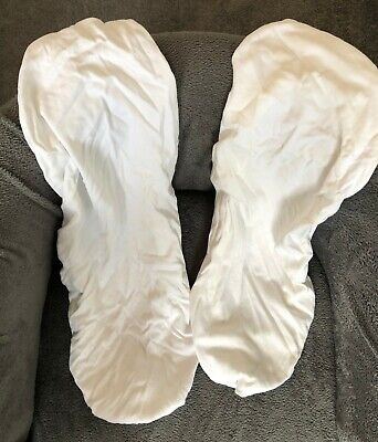 2 Moses Basket White Mattress Covers and 1 Protector Cover