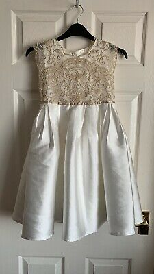 Monsoon Girls Gold Embroided Girls Bridesmaid/Party Dress Size 8 Years