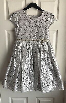 Monsoon Stunning Shimmery Silver Floral Lace Occasional Dress Size 11 yrs