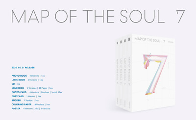 BTS BANGTAN BOYS - MAP OF THE SOUL : 7 CD+Photocard+Poster+Sticker