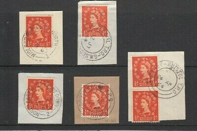 GB QEII: 5 different T.P.O cancels on ½d orange Wilding stamps 1960s - see scans