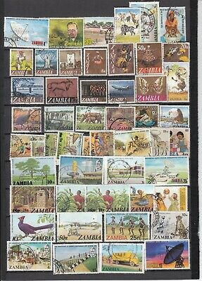 ZAMBIA: 50 GENUINE USED stamps - all different - High Cat Value -  see scan