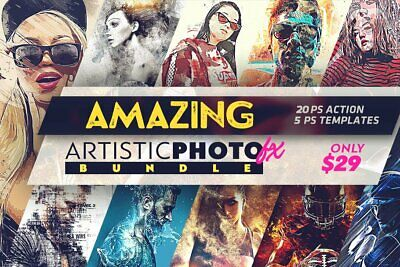 Photoshop design actions, templates Amazing Artistic Photo FX Bundle