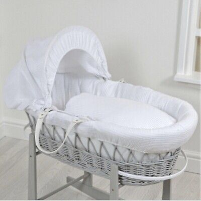 Waffle Grey Wicker Moses Basket - White Grey Unused Immaculate Mattress Bedding