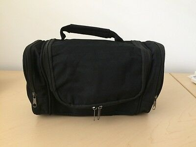 Large Hanging Travel Toiletry Bag Shaving Grooming Dopp Kit Black Canvas New