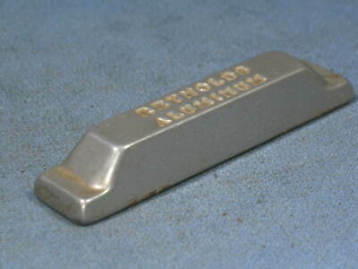 "Vintage REYNOLDS Solid Aluminum 3-7/8"" Long Advertising Ingot Paperweight"