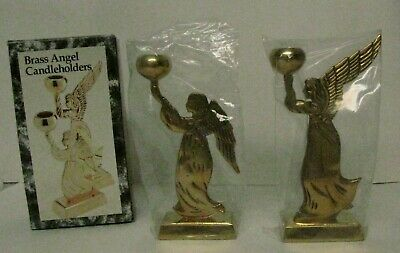 Pair Brass Angel Christmas Candlestick Candle Holders New