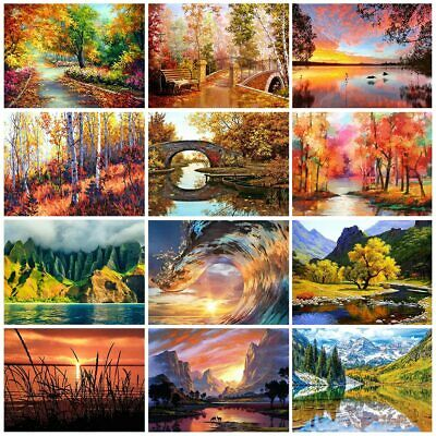 Landscapes Painting by Numbers Kit Includes Paints Brush Board Sea Mountains