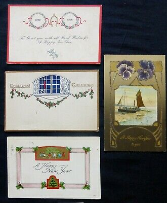 4 Vintage NEW YEAR- CHRISTMAS Post Cards  #8150
