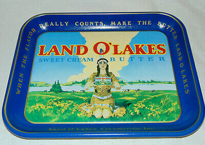 Vintage; Land O' Lakes Sweet Cream Butter Metal Serving Tray.. Retired Logo..