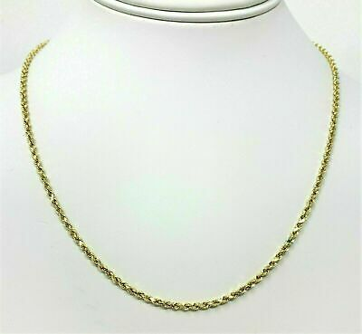 Real 10K Yellow Gold 2mm Diamond Cut Rope Chain Pendant Necklace 20''