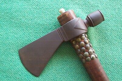 PIPE TOMAHAWK  with Antique Brass Tacks  and Drop , FUR TRADE , MOUNTAIN MAN