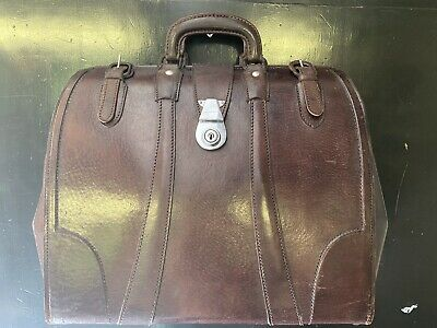 Vintage Brown Leather Gladstone Doctors Bag Briefcase With Burberry Lining
