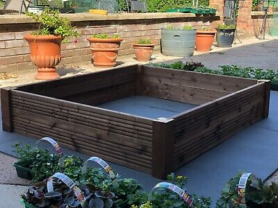 Extendable Raised Garden Wooden Bed Fence Planters Trough Vegetable Flower Herb
