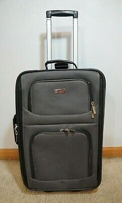 """CHAPS Grey Carry On Suitcase/Travel Bag w/ Handle & Rolling Wheels 23""""x14""""x7"""""""