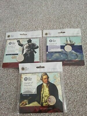 2020 UK Captain Cook 2 pound coin £2 all three coins 2018 2019 2020 Uncirculated