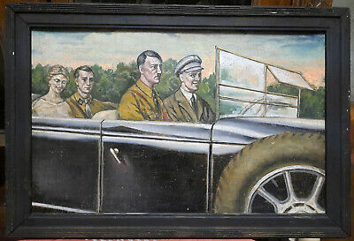 Oil painting Military officer in a car