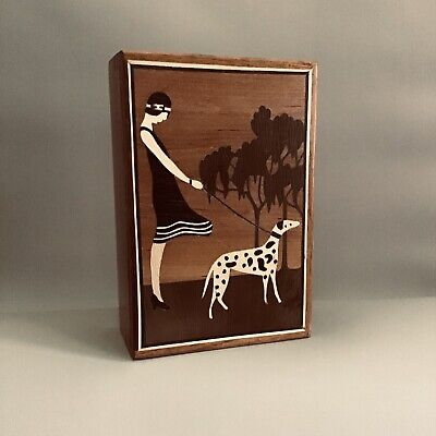Vintage Wood Marquetry Box- '1920's Lady Walking Dog'- Lovely - EUC