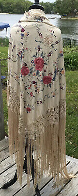 Vintage Embroidered Off-White Silk Canton Manton Piano Shawl