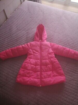 Girls Billieblush Neon Pink coat with hood and bow Age 4 fit 4/5 years