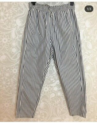 80 Vintage Tapered Stripe Summer Trousers, St Michael, Nautical Look, 16-18