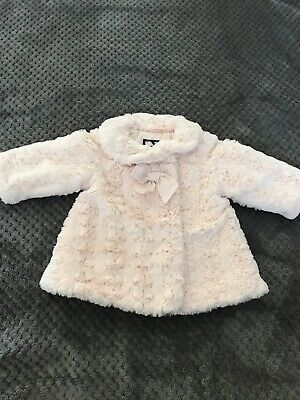 Jasper Conran Girls Cute Light Pink Faux Fur Coat Size 0-3 Months