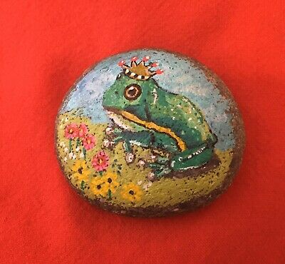 Hand Painted River Rock Art - Prince Tree Frog