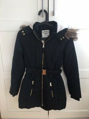 M & S Black  padded girl's coat with hood UK age 11-12 years
