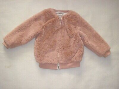 01 NEXT Toddler Girls Pink Faux Fur Zip Front Star Print Lined Jacket 2/3 years