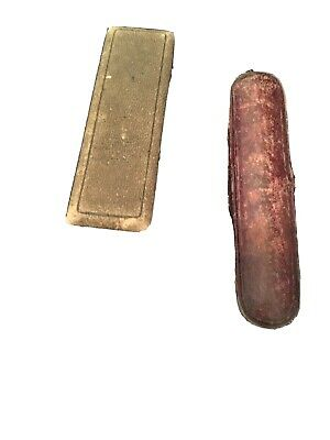 2 Antique Stick Pin Jewelry Boxes (1 w/ metal button, 1 w/side button