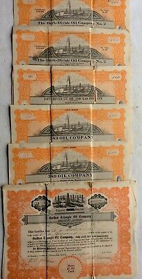 Lot Of 6 Oil & Gas Co. Stock Certificates 1919 &1920.