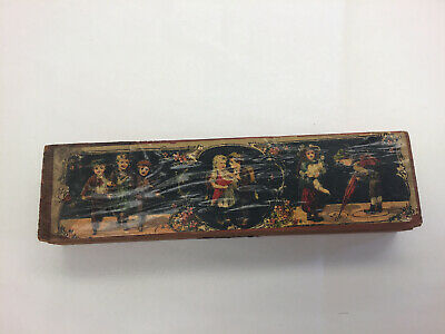 Antique Wood Wooden Schoolhouse Child's Pencil Box Made in Germany