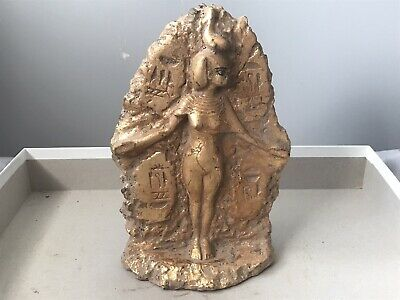 Rare ancient Egyptian gold gilded stone isis statue