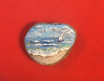 Hand Painted River Rock Art - Sailboat