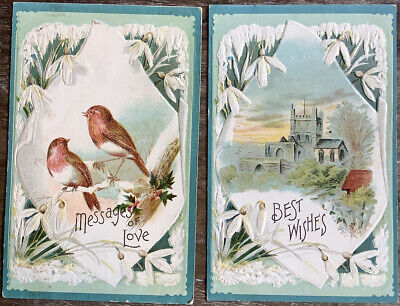 2 Vintage Postcards Snowdrop Flower Christmas 1 With Birds 1 Castle Embossed