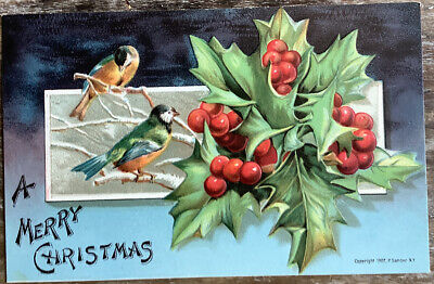 Vintage Merry Christmas Postcards Birds On A Branch Holly Embossed