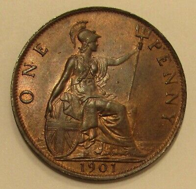 Great Britain 1901 Victorian penny, toned high grade, beautiful coin..