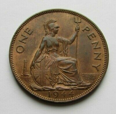 Great Britain 1944 penny, toned high grade, beautiful coin..