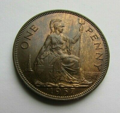 Great Britain 1937 penny, toned high grade, beautiful coin..