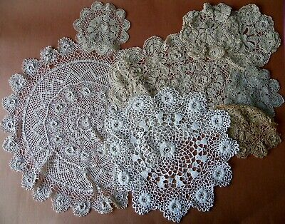 Collection of 8 Antique Vintage Crochet Doilies Roses Shamrocks Thistles