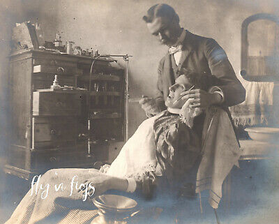 DENTIST OFFICE c1900 ~ original antique photo EARLY DENTISTRY