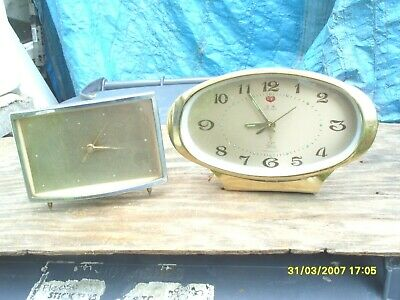 Clock Parts  2 Vintage Clock One  Alarm  One A Time Piece