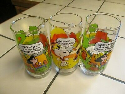 MCDONALD'S VINTAGE 1968  Camp Snoopy Lot Of 3 Collection Glasses - VGVC AS SHOWN